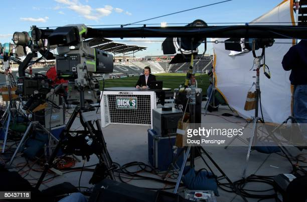 A television studio is set up as the Los Angeles Galaxy face the Colorado Rapids at Dick's Sporting Goods Park on March 29 2008 in Commerce City...