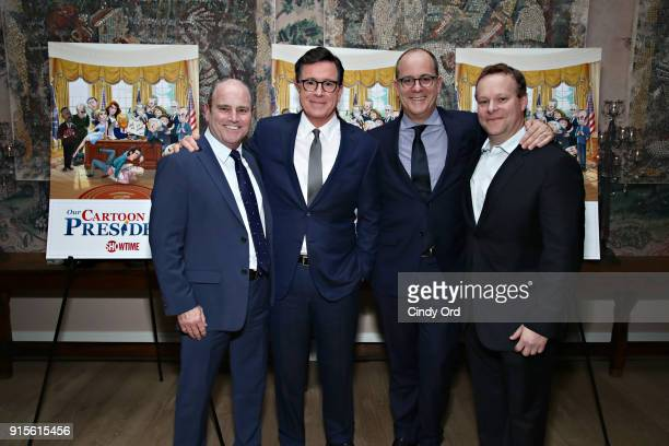 Television Studios President David Stapf Executive Producer Stephen Colbert Showtime CEO David Nevins and Executive Producer Chris Licht attend as...