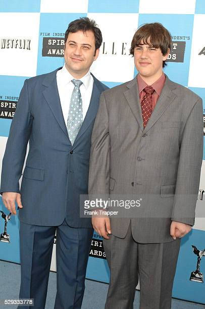 Television talk show host Jimmy Kimmel and son Kevin Kimmel arrive at the Film Independent's 22nd Spirit Awards held in a tent on the beach in Santa...