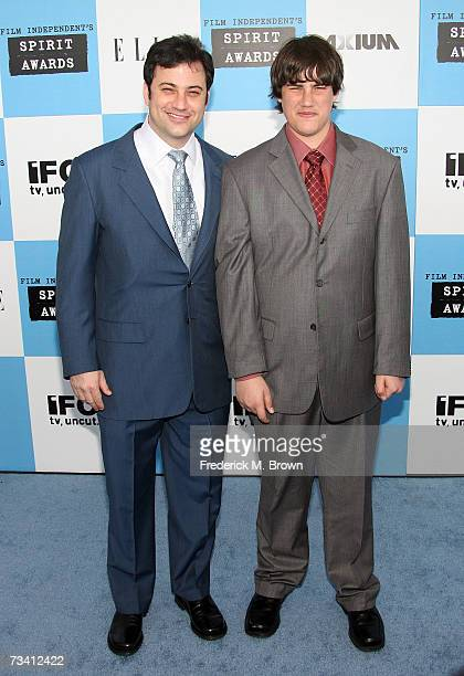 Television talk show host Jimmy Kimmel and son Kevin Kimmel arrive at the 22nd Annual Film Independent Spirit Awards held at Santa Monica Beach on...
