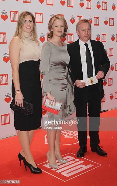 Television talk show host Johannes B Kerner his wife Britta BeckerKerner and Stephanie zu Guttenberg attend the 'Ein Herz Fuer Kinder' charity gala...