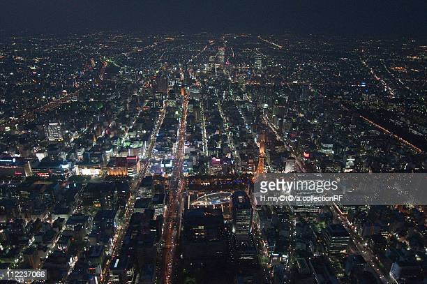 Television Tower and Meieki, Nagoya, Aerial view