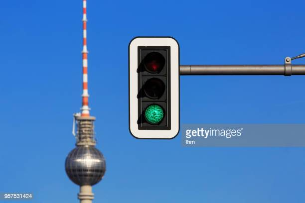 Television Tower Berlin with green traffic light (Germany)