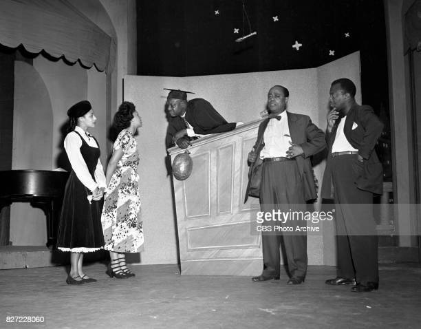 Television variety show, 'Toast of the Town' . The program features host and emcee Ed Sullivan. Pictured here is a comedy skit featuring Dewey...
