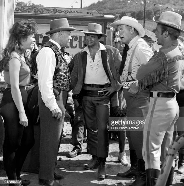 CBS television western Frontier Circus episode Mr Grady Regrets originally broadcast January 25 1962 Pictured left to right Anne Helm Charles Ruggles...