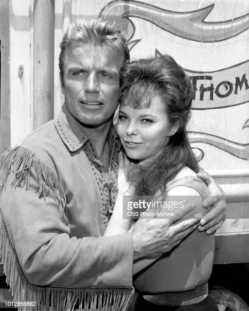 CBS television western Frontier Circus episode Mr Grady Regrets originally broadcast January 25 1962 Pictured is Richard Jaeckel and Anne Helm Image...