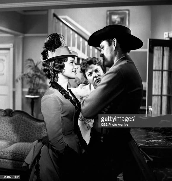 CBS television western series Hotel de Paree Episode Sundance and the Boat Soldier Pictured is Judi Meredith director Ida Lupino and Earl Holliman...