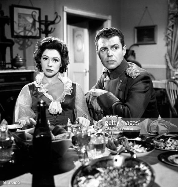CBS television western series Hotel de Paree Episode Sundance and the Boat Soldier Pictured is left to right Judi Meredith and Ed Kemmer Originally...
