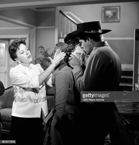 CBS television western series Hotel de Paree Episode Sundance and the Boat Soldier Pictured is director Ida Lupino Judi Meredith and Earl Holliman...