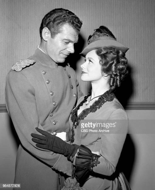 CBS television western series Hotel de Paree Episode Sundance and the Boat Soldier Pictured is Ed Kemmer and Judi Meredith Originally broadcast...