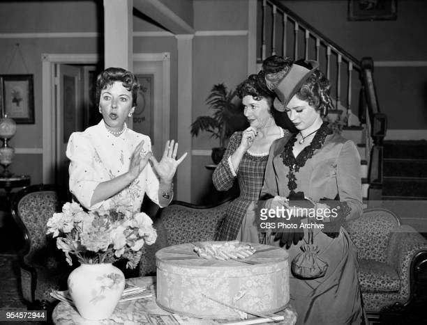 CBS television western series Hotel de Paree Episode Sundance and the Boat Soldier Pictured is Left to right director Ida Lupino Jeanette Nolan and...