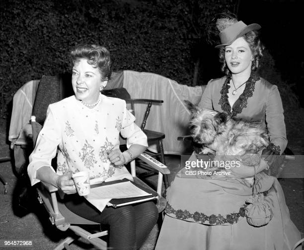 CBS television western series Hotel de Paree Episode Sundance and the Boat Soldier Pictured is Left to right director Ida Lupino and Judi Meredith...