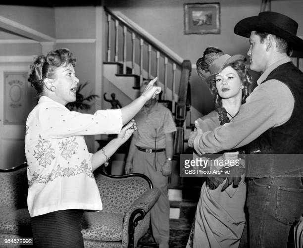 CBS television western series Hotel de Paree Episode Sundance and the Boat Soldier Pictured is Left to right director Ida Lupino Judi Meredith and...