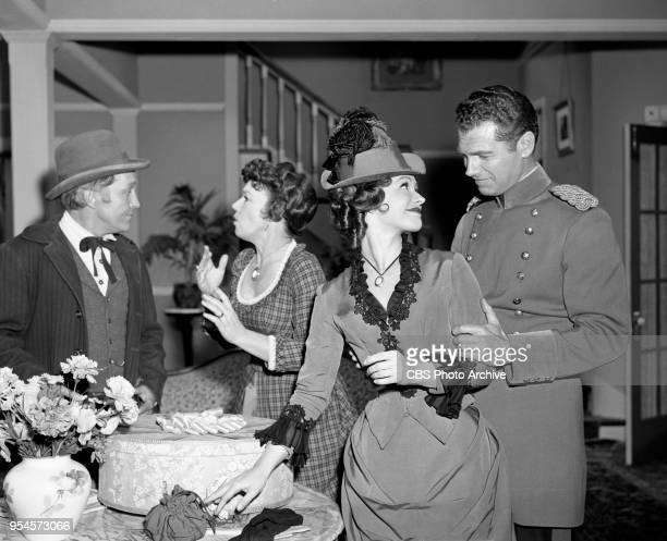 CBS television western series Hotel de Paree Episode Sundance and the Boat Soldier Pictured is Left to right Left to right Strother Martin Jeanette...