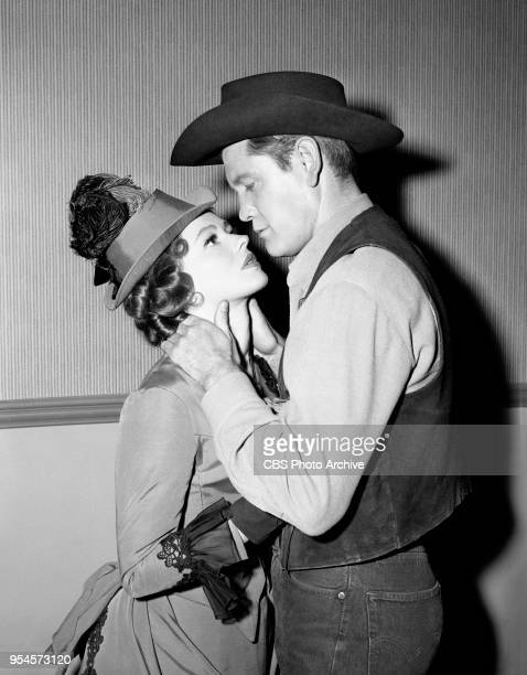 CBS television western series Hotel de Paree Episode Sundance and the Boat Soldier Pictured is Judi Meredith and Earl Holliman Originally broadcast...