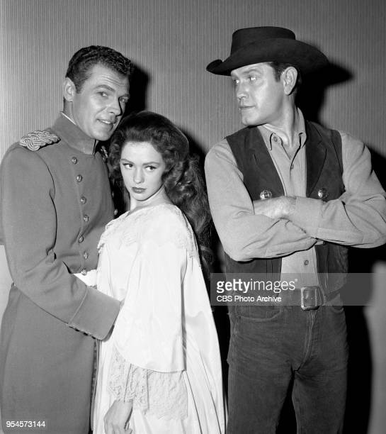 CBS television western series Hotel de Paree Episode Sundance and the Boat Soldier Pictured from left is Ed Kemmer Judi Meredith and Earl Holliman...