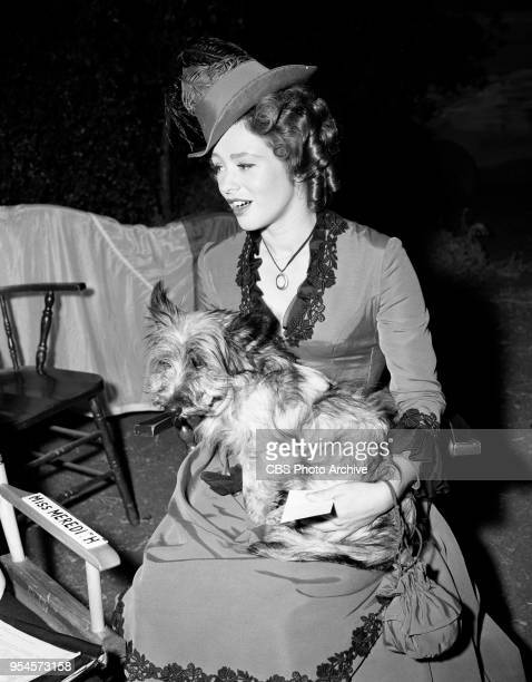 CBS television western series Hotel de Paree Episode Sundance and the Boat Soldier Pictured is Judi Meredith with her new pedigree dog a Skye Terrier...