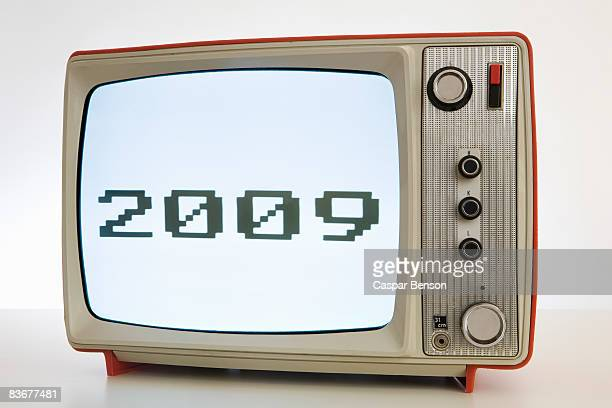 a television with a black and white image of '2009' - part of a series stock pictures, royalty-free photos & images