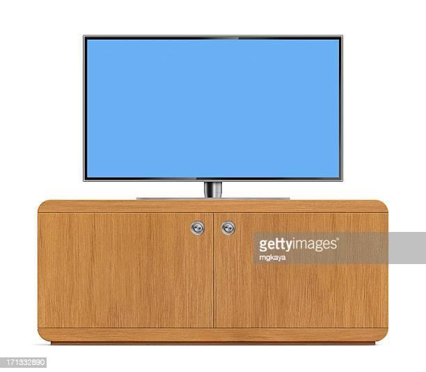 lcd tv com suporte de tv - televisão de alta definição - fotografias e filmes do acervo