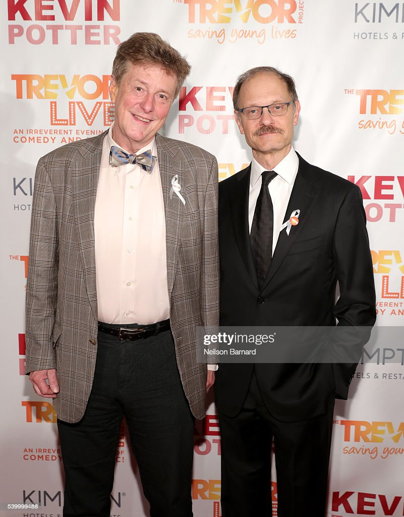 Television writer Brian Hargrove and actor David Hyde Pierce attend The Trevor Project's TrevorLIVE New York on June 13, 2016 in New York City.