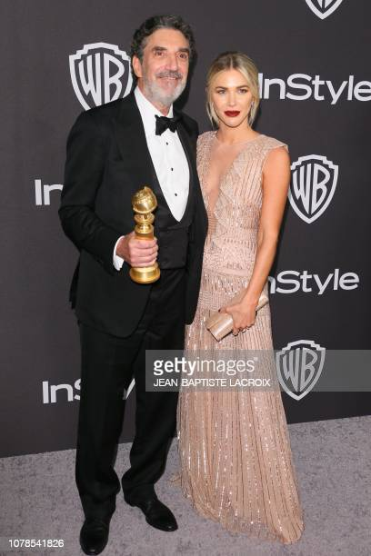 US television writer Chuck Lorre with the Golden Globe for Globe for Best Comedy for The Kominsky Method arrives for the Warner Bros and In Style...