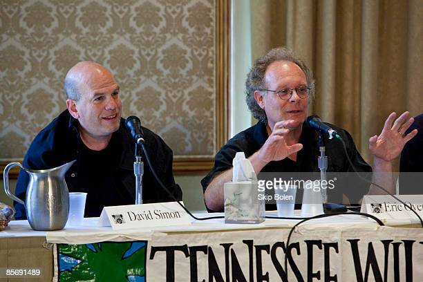 """Television writers and producers David Simon and Eric Overmyer speak at the event """"Better Than Your Regularly Scheduled Program: Elevating Television..."""