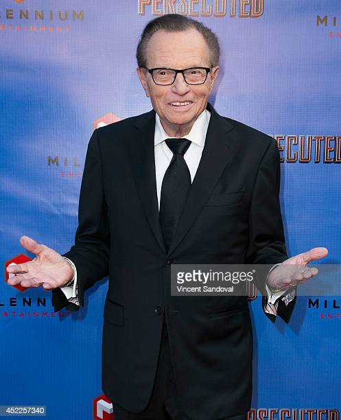 Television/radio personality Larry King attends the Los Angeles premiere of 'Persecuted' at ArcLight Hollywood on July 16 2014 in Hollywood California