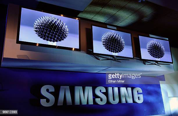 LED 3D televisions by Samsung are displayed at a press event at the 2010 International Consumer Electronics Show at the Venetian January 6 2010 in...