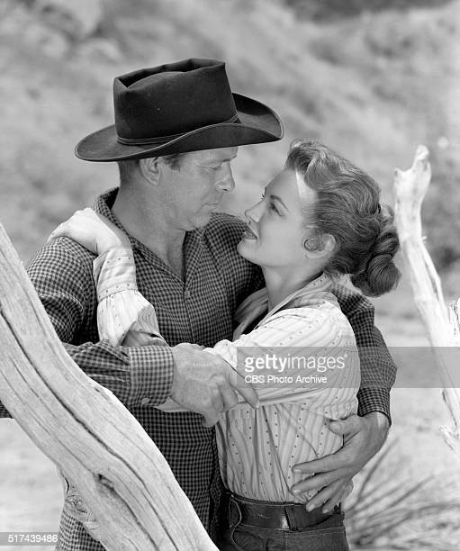 Televisions Schlitz Playhouse of Stars featuring Ward Bond Gene Nelson and Angie Dickinson in the western Moment of Vengeance Shown here is Gene...