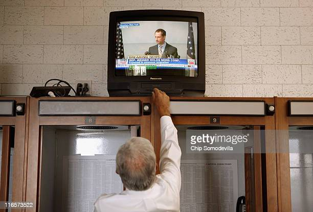A television's volume is turned up in the House of Representatives Press Gallery on the third floor of the US Capitol as former Rep Anthony Weiner...