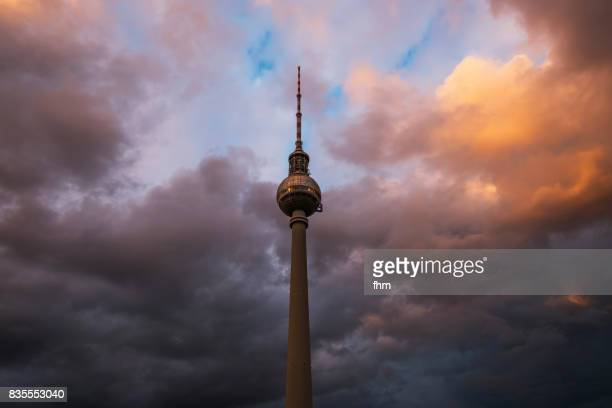 Television-Tower Berlin with dramatic sky and clouds (Central Berlin, Germany)