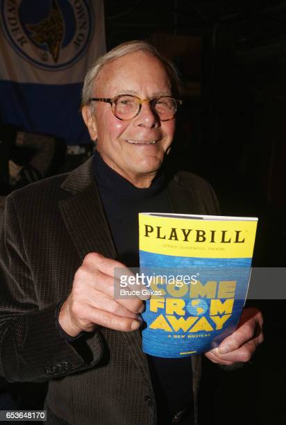 Televison Journalist/Author Tom Brokaw poses backstage at the hit musical 'Come from Away' on Broadway at The Schoenfeld Theatre on March 15 2017 in...