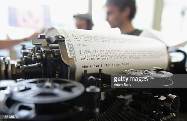 Telex machine to which visitors can send SMSes to be printed operates on the first day of the 28th Chaos Communication Congress Behind Enemy Lines...