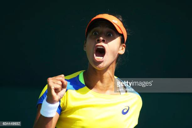Teliana Pereira of Brazil celebrates after wining a point during the fourth day of the Tennis Fed Cup American Zone Group 1 at Club Deportivo La...