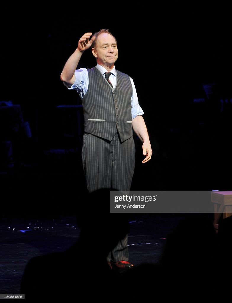 Teller takes a bow during 'Penn & Teller On Broadway' at Marquis Theatre on July 12, 2015 in New York City.