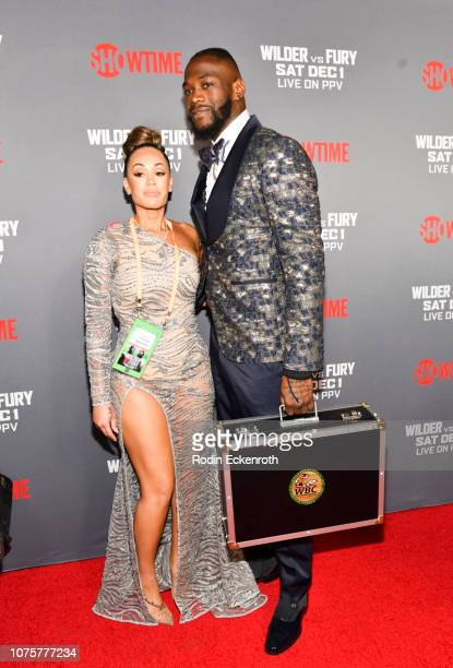 Telli Swift and Deontay Wilder attend the Heavyweight Championship of The World Wilder vs Fury Premiere at Staples Center on December 01 2018 in Los...