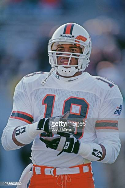 Tellison, Wide Receiver for the University of Miami Hurricanes during the NCAA Atlantic Coast Conference college football game against the University...