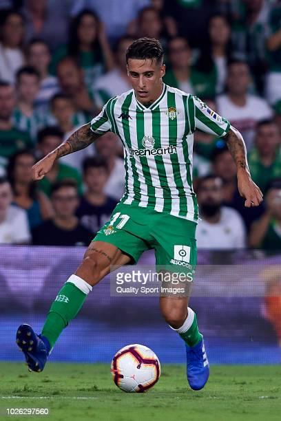 Tello Herrera of Real Betis in action during the La Liga match between Real Betis Balompie and Sevilla FC at Estadio Benito Villamarin on September 2...