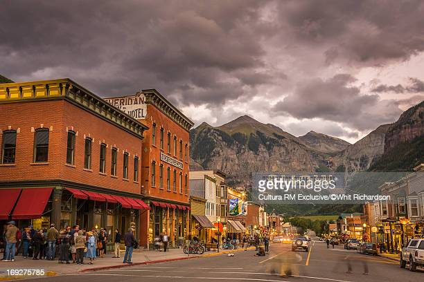 telluride main street under cloudy sky - film festival stock pictures, royalty-free photos & images