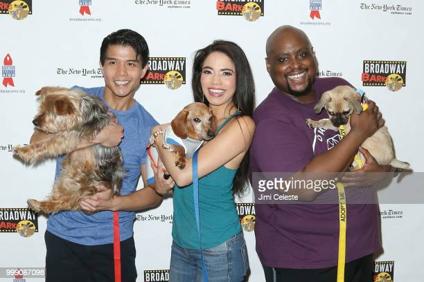 Telly Leung Arielle Jacobs and Major Attaway attend the 20th Anniversary Of Broadway Barks at Shubert Alley on July 14 2018 in New York City