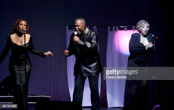 Telma Hopkins singer Sam Moore and Joyce Vincent Wilson perform during the WeSPARKLE Variety Hour to benefit weSPARK Cancer Support Center held at...