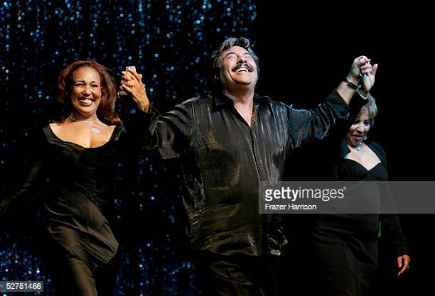 Telma Hopkins singer Tony Orlando and Joyce Vincent Wilson perform during the WeSPARKLE Variety Hour to benefit weSPARK Cancer Support Center held at...
