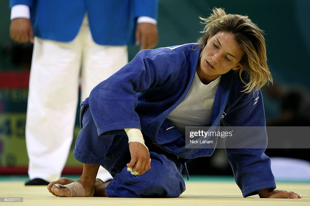 Telma Monteiro of Portuga reacts after she lost to Xian Dongmei l in their -52 kg women's preliminary judo event held during day 2 of the Beijing 2008 Olympic Games at the University of Science and Technology Beijing Gymnasium on August 10, 2008 in Beijing, China.