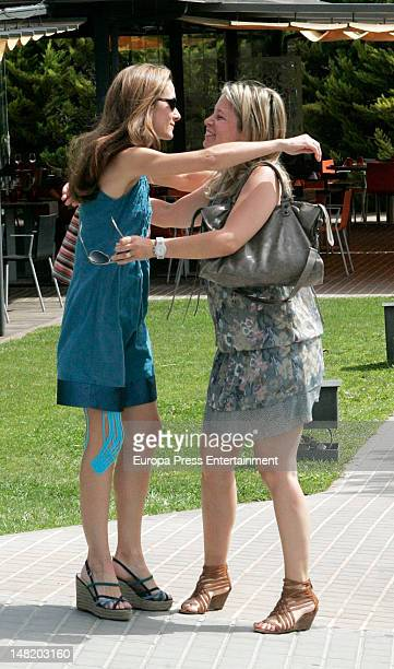 Telma Ortiz is seen sighting in Barcelona on June 29 2012 in Barcelona Spain Princess Letizia's sister says goodbye to her friends after moving to...
