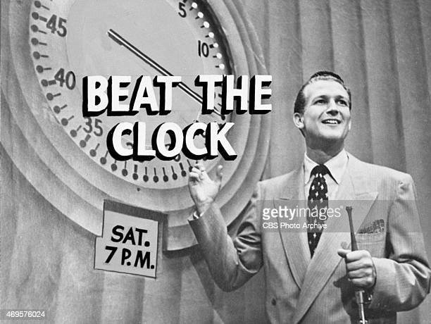 A telop title card for the Beat The Clock television show Image dated January 1 1952