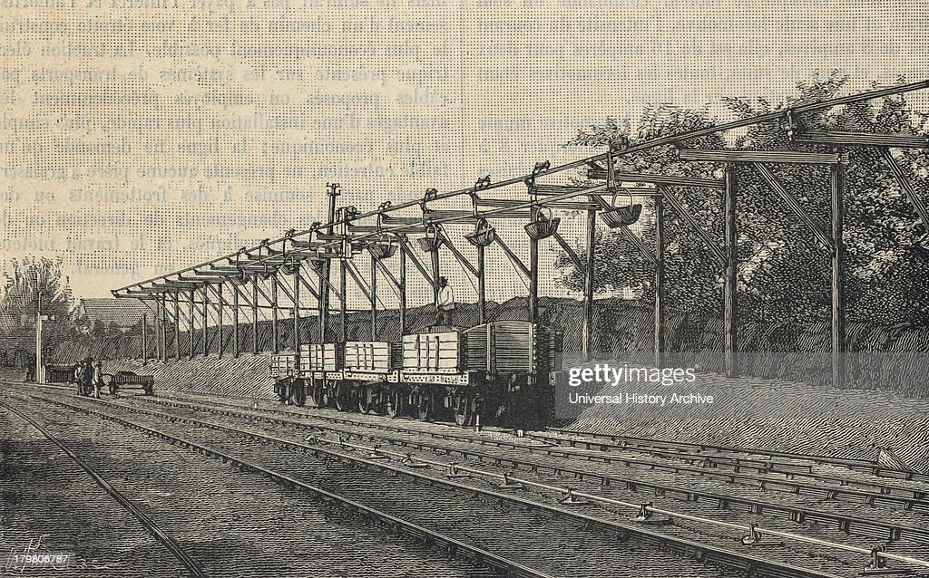 Telpherage - Wire rope railway at Glynde, 1885 : News Photo