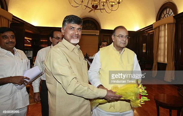 Telugu Desam Party chief N Chandrababu Naidu met Finance Minister Arun Jaitley at North Block on May 30 2014 in New Delhi India Union Finance...