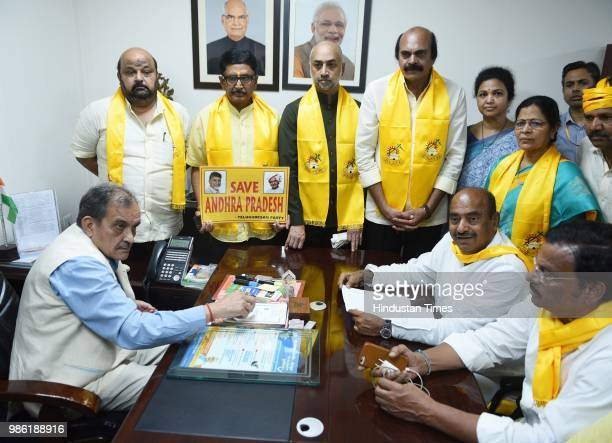 Telugu Desam Party MPs meet Union Steel Minister Chaudhary Birender Singh to demand an integrated steel plant in Kadapa district of Andhra Pradesh at...