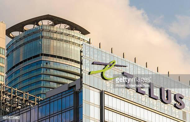 DOWNTOWN TORONTO ONTARIO CANADA Telus Company logo on the glass facade of the building Telus is a Canadian national telecommunications company that...