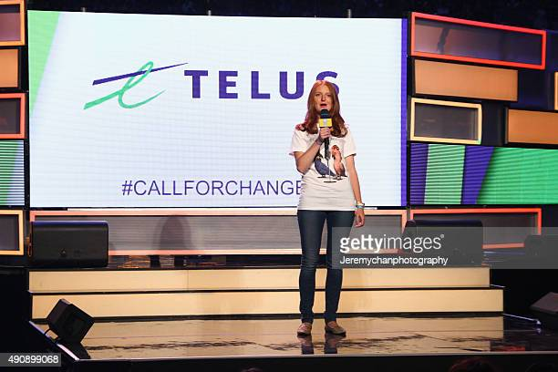 Telus representative Emily McGlenn speaks during WE Day Toronto at the Air Canada Centre on October 1 2015 in Toronto Canada